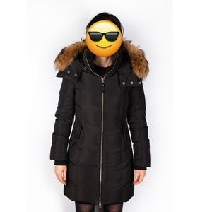 Mackage Calla Fitted Down Coat with Real Fur Trim